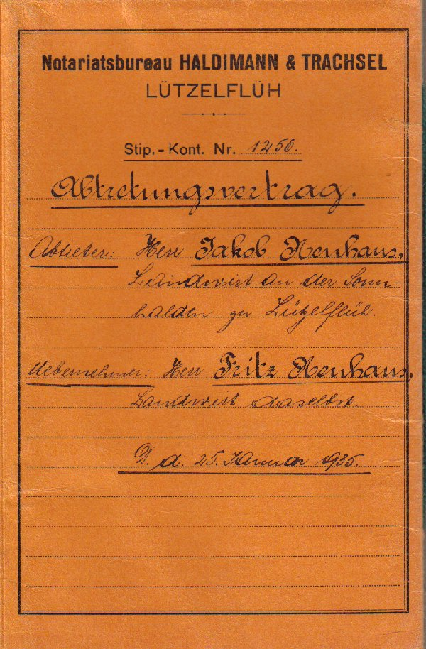 Abtretungsvertrag 1935